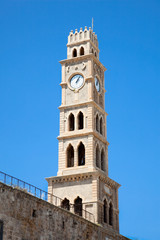 Old clock tower Akko , Acre, Israel