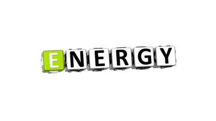 3D Green Energy Crossword on white background