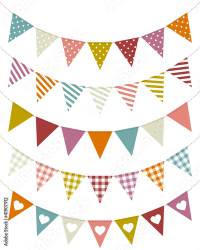 5 Seamless Festoons Curve Pattern Retro Colour