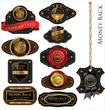 Money back Leather vintage LABELS set