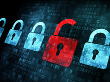 "Постер, картина, фотообои ""Security concept: Lock on digital screen"""