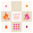 Birthday Card Cute Birds Pink/Orange