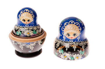 Set of matryoshka dolls isolated on white