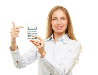 A businesswoman pointing on a  calculator, isolated on white