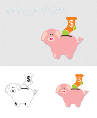 illustration of piggy bank. Save money for the future.