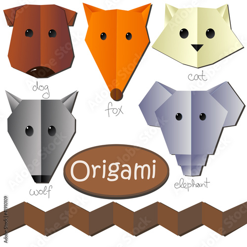 set of cute origami animal heads like dog cat fox elephant wolf