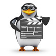 3d Penguin in glasses with clapperboard