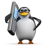 3d Penguin in glasses with a big cell phone