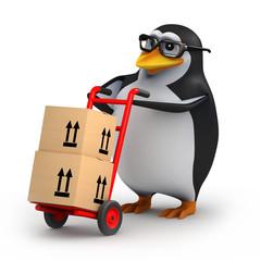 3d Penguin in glasses delivers some parcels