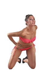Beautiful Young Woman Wearing A Pink Bikini