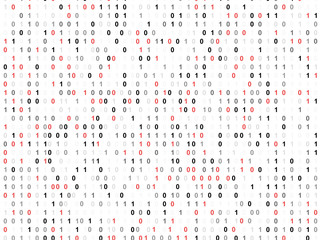 Binary code screen with red cypher