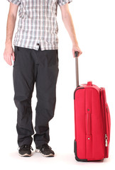 Red suitcase with man isolated on a white