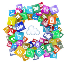 3d cloud computing database network isolated social media icons