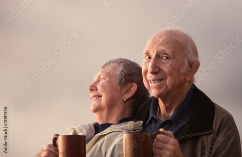 Happy Senior Citizen Couple Outside