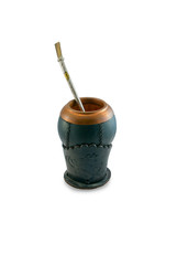 Calabash cup using a metal or wood decorative straw