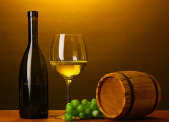 In wine cellar. Composition of wine bottle and runlet