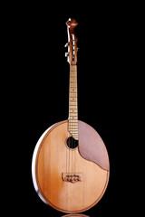 Retro kobza- Ukrainian musical instrument on black background