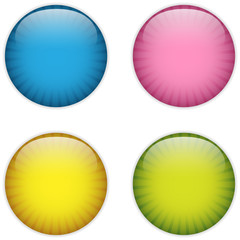 Glass Circle Button Colorful Stripes