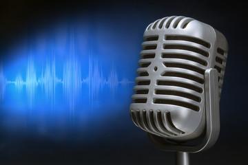 retro microphone with audio wave