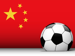 China Soccer Ball with Flag Background