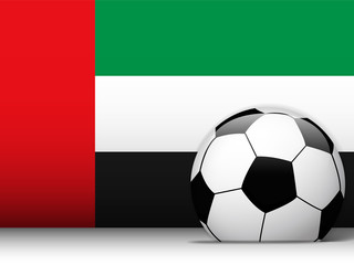Emirates Soccer Ball with Flag Background