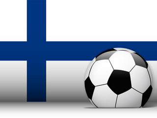 Finland Soccer Ball with Flag Background