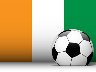 Ireland Soccer Ball with Flag Background