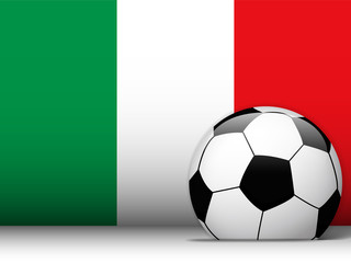 italy Soccer Ball with Flag Background