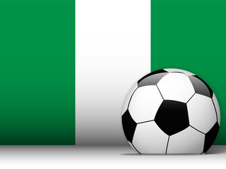 Nigeria Soccer Ball with Flag Background