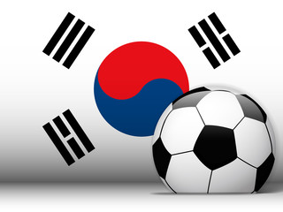 South Korea Soccer Ball with Flag Background