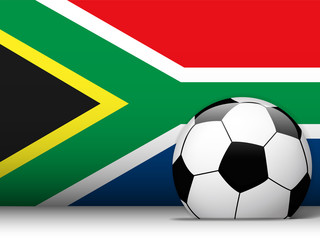South Africa Soccer Ball with Flag Background