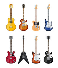 acoustic and electric guitars set of vector icon illustration