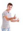 Man with thumbs up gesture