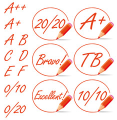 Red education rating symbols collection.