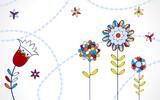 popart floral background poster