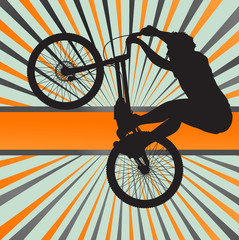 Mountain biking burst vector background