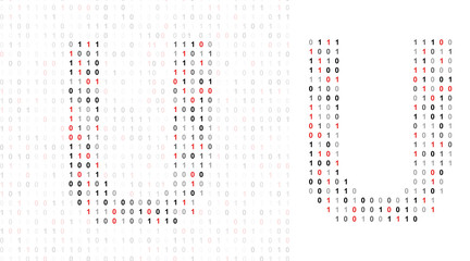 Letter U, alphabet from binary code