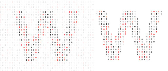 Letter W, alphabet from binary code