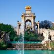 Barcelona ciudadela park lake fountain and quadriga
