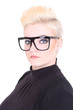 Blonde woman in black glasses