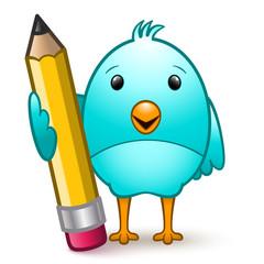 Cute bird standing holding a giant pencil
