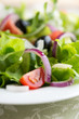 Green salad with black olives and cherry tomatoes