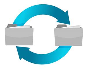 connection of folders illustration design over white