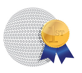 golf ball with award illustration design over white