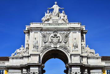 The arch of Augusta Rua in Lisbon, Portugal