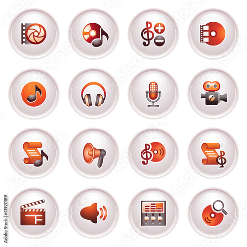 Audio video icons. Black red series.