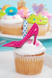 Birthday cupcake with pink polka dot high heel shoe
