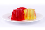 Gelatin of different colors.