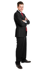Handsome young businessman portrait isolated on white full lengt