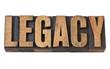 legacy word in vintage wood type